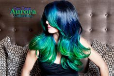 Blue Green Ombre Hair Color by Guy Tang. He is freaken amazing! Blue Green Hair, Green Hair Colors, Hair Color Purple, Blue Ombre, Balayage Blond, Hair Color Balayage, Dip Dye Hair, Dyed Hair, Dip Dyed