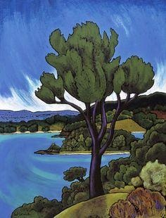 Wendy Leach Artist - New Zealand Tile Design, Design Art, New Zealand Landscape, New Zealand Art, Nz Art, Art Tutorials, Illustration Art, Illustrations, Animation