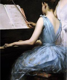 """Irving Ramsey Wiles """"The Sonata"""", 1889 Classic Paintings, Old Paintings, Beautiful Paintings, Renaissance Paintings, Renaissance Art, Aesthetic Painting, Aesthetic Art, Art Vintage, Princess Aesthetic"""