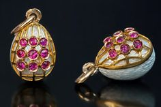 Ruby, Gold and Enamel Miniature Egg Pendants