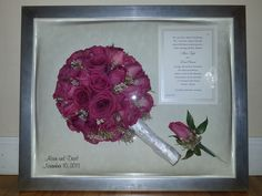 Preserved bridal bouquet and boutonniere in modern silver frame with invitation and engraving of first names and wedding date.