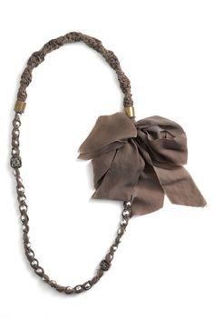 Lanvin Pearl & Chiffon Long Necklace
