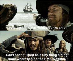 The Remus/Tonks ship! Can't spot it.  Must be a tiny thing hiding behind the HMS Wolfstar.  I loooooooove Wolfstar.