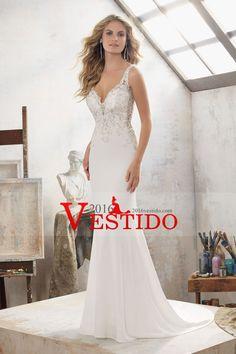 2017 abierto atractivo de espalda cuello en V vestidos de boda de la sirena del Spandex con apliques Y Granos