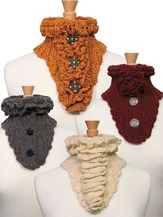 Button Up Scarves Crochet Pattern