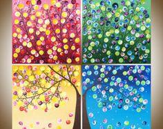 Original Acrylgemälde großer Baum abstrakte Malerei von QiQiGallery