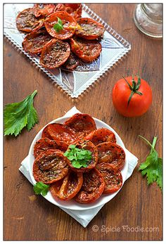 Roasted Tomatoes. Just tried this myself with cherry tomatoes, and turned out to be an extremely yummy treat! I put the rest I didn't scarf in a jar, ready to be used later.