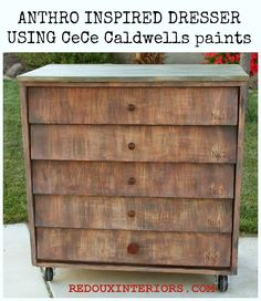Anthro inspired dresser.  How to make paint that looks like wood using CeCe Caldwell's Paints.   REDOUXINTERIORS.COM FACEBOOK: REDOUX #paintwoodgrain #cececaldwellspaints #cececaldwellstexastea