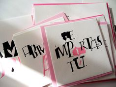 Letra de mascar project - cards. All with my drawn letters. Silvia Cordero.