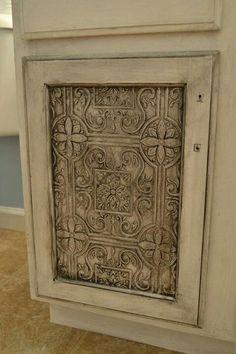 TEXTURED WALLPAPER ON CABINET DOORS???