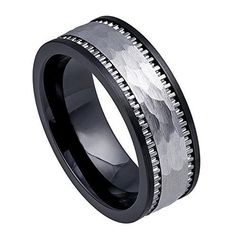 8mm - Man or Ladies - Ceramic Base with Hammered Tungsten Carbide Inlay Wedding Band Ring, Men's, Size: 8.5, silver