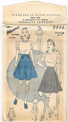 Vintage 1940's Original Sport Skirt Pattern by FaithfulFabrics