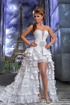 New High Low Wedding Dresses With Crystal And Ruffle Lace Arabic White Gaby Saliba Front Short Long Back Bridal Dresses