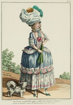 Galerie des Modes, 11e Cahier, 4e Figure  Young Woman in genteel undress, coiffed in an English Hat, carrying a cane parasol, and walking with her dog. (1778)