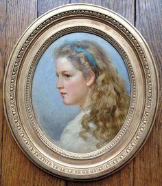 Philipp Rumpf - - Portrait De Jeune Fille, of a young woman . on # panel, Workshop Philipp Rumpf - century. For sale on by Galerie de Lardemelle, Proantic. Miniature Paintings, Miniature Portraits, Young Women, Choker, Folk Art, 19th Century, Illustrations, Display, Decorating