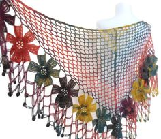 flower shawl ,crochet shawl, wedding ,bride,Rainbow shawl, christmas gift,  fall fashion,  valentine, winter trends, 2014