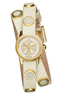 Tory+Burch+'Reva+Mini'+Logo+Dial+Double+Wrap+Leather+Strap+Watch,+21mm+available+at+#Nordstrom