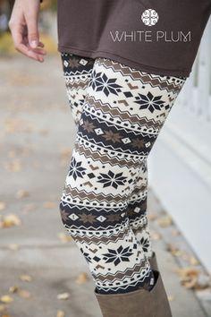 Natural Nordic Leggings- White Plum has lots of winter leggings Aztec Leggings, Winter Leggings, Best Leggings, Tight Leggings, Leggings Are Not Pants, Patterned Leggings, Print Leggings, Fall Winter Outfits, Winter Wear