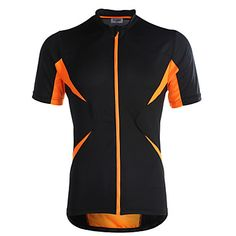 060f855a4   24.99  Jaggad Men s Women s Unisex Short Sleeve Cycling Jersey - Black    Orange Patchwork Bike Jersey Top Breathable Quick Dry Sports Polyester  Elastane ...