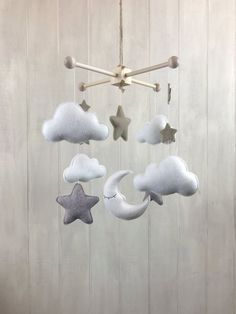 efcee225b Baby mobile - moon star and cloud mobile - baby crib mobile - hanging  mobile - star mobile - cloud mobile - moon mobile - neutral mobile
