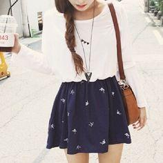 skirt bag dress jewels sweater blouse jeans floral aztec nike cute dress skater skirt navy