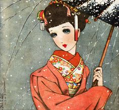 中原淳一「初雪」 Nakahara Junichi : 'Hatsu-yuki' / Shoujo no Tomo, Dec.1939