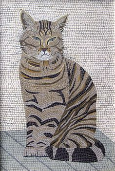 """Cat Mosaic, """"Clyde"""" by Robert Field Pebble Mosaic, Mosaic Diy, Mosaic Crafts, Mosaic Projects, Mosaic Glass, Mosaic Tiles, Stained Glass, Mosaic Designs, Mosaic Patterns"""