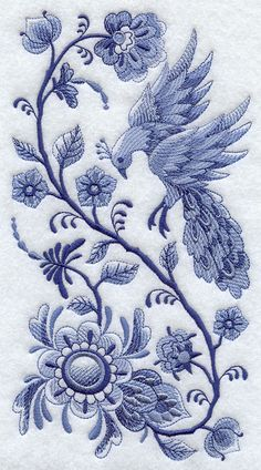 Machine Embroidery Designs at Embroidery Library! - Delft Blue Bird in Flight