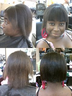 Before and after; Barely Bob with straight across bangs.