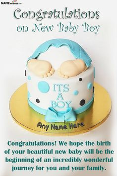 Baby Boy Cakes, Cakes For Boys, Baby Congratulations Messages, Beautiful Cake Images, Birth Cakes, Wishes For Baby Boy, Baby Cartoon Drawing, Cake Name, Cake Online