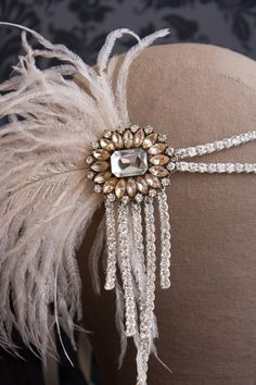 Flapper Headband - Blush and Ivory with Crystal Gatsby Style, Flapper Style, Crystal Headband, Crystal Brooch, Flapper Wedding Dresses, Flapper Headband, Headband Styles, Ostrich Feathers, How To Make Notes