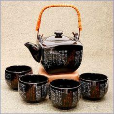 Elegant Japanese Calligraphy Tea Set