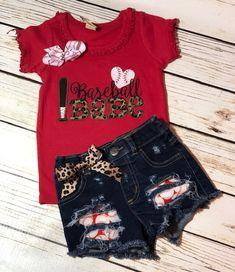 Toddler baseball babe shirt and distressed hippo boho denim short set, leopard baseball shirt Baseball Shorts, Baseball Mom Shirts, Baseball Sister, Baseball Clothes, Funny Baseball, Toddler Jeans, Toddler Outfits, Kids Outfits, Sister Shirts