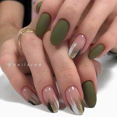 Classy Nails, Stylish Nails, Trendy Nails, Edgy Nails, Oval Nails, Green Nail Designs, Fall Nail Art Designs, Cute Nail Designs, Green Nail Art