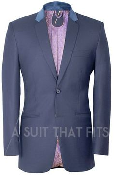 Navy Première Two Piece Suit with a patterned mauve lining lining.