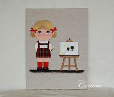 COCONIC: Cuadro infantil pintado a mano y personalizado de niña vestido de uniforme en el colegio.