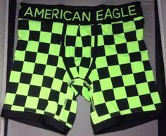 American Eagle Performance Trunk XS Mens Longer Boxer Briefs Checks Green New