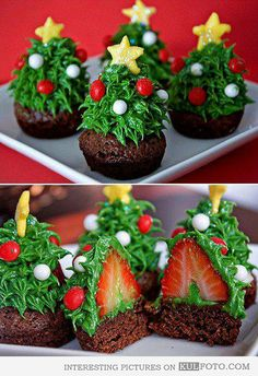 Strawberry Christmas trees cupcakes - Beautiful cupcakes looking like small Christmas trees with strawberries inside.