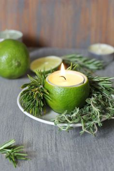 Sculptural Candle Holders Dress up your table with these Lime and Herb Candles at each place setting.Dress up your table with these Lime and Herb Candles at each place setting. Cheap Table Decorations, Decoration Table, Christmas Decorations, Christmas Candles, Candle Lanterns, Diy Candles, Floating Candles, Candle Jars, Candle Holder Decor