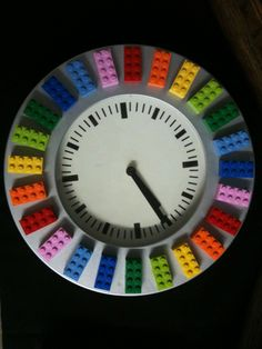 Lego rainbow clock