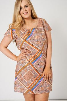 Abstract Print Pleat Front Tunic Top