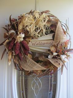 Welcome Wreath - Autumn Wreath - Fall Wreath - Thanksgiving Wreath    Festive front door welcome wreath for the upcoming Fall Season. Has an