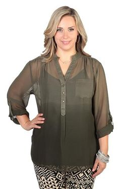 plus size three quarter sleeve equipment shirt with roll tab sleeves