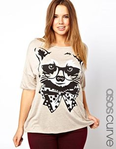 Enlarge ASOS CURVE Exclusive T-Shirt With Racoon Print