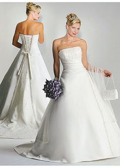 Stunning Satin Straight A-line Wedding Dress  Fabric: satin  Details: This satin dress is strapless with straight neckline and lace-up closure.The sequins and beadings on the bodice makes the dress perfectly.The organza shawl matches the dress which you don't need to worry about choosing a shawl for this dress.