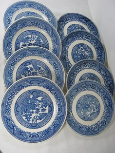 Vintage BLUE WILLOW PLATES Bread Royal by LavenderGardenCottag, $4.00 ea