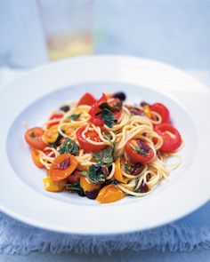 Simple Summer Spaghetti: I made this for lunch with a few changes (no olives or marjoram; added fresh parsley and slivered parmesan instead). Quick and tasty!
