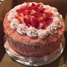 A 3 layer cake with two outer layers of strawberry cake and a cheesecake layer in the middle. Topped with strawberry shortcake crumble. ****THIS ITEM IS NOT AVAILABLE FOR SAME DAY PICKUP****