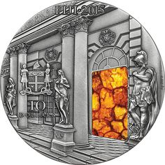 2015 Fiji 3 oz $10 silver coin - Masterpieces in Stone: The Amber Room (Amber insert).