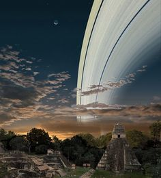 Probably the most beautiful looking view of the ring would be in Guatemala if the Earth had Saturn's rings.